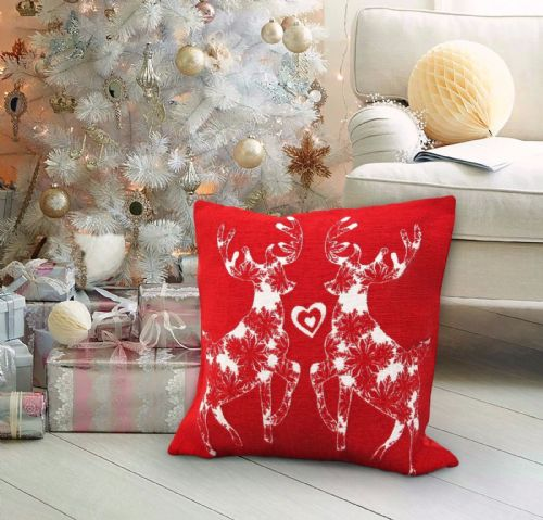 CHRISTMAS THEMED FESTIVE XMAS DESIGN CUSHION COVER DANCING REINDEERS